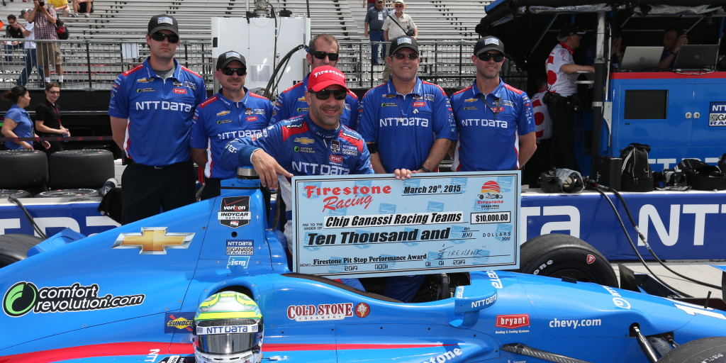 The crew of the No. 10 NTT Data Chip Ganassi Racing Chevrolet was the first winner of the Firestone Pit Performance Award in 2015 (Photo Courtesy of IndyCar - Chris Jones)