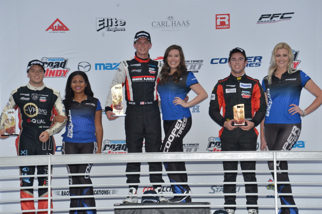 Aaron Telitz stands on the top step of the podium after piloting his No. 3 Cape Motorsports with /WTR race car to his second USF2000 victory. (Photo courtesy of Indianapolis Motor Speedway, LLC Photography)