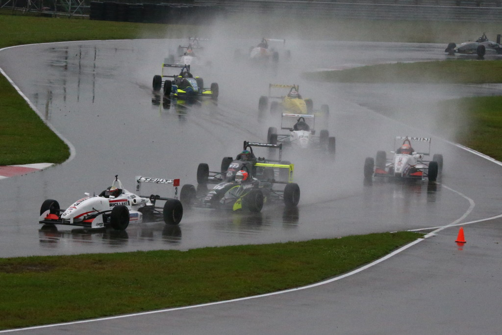 Aaron Telitz led the Cooper Tires USF2000 powered by Mazda in the early going during a very damp Race 2 at NOLA Motorsports Park (Photo courtesy of Indianapolis Motor Speedway, LLC Photography)