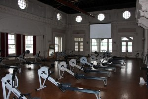 Rowing machines set up inside the Boat House on Belle Isle.  This room is the former Ball Room of the Boat Club.