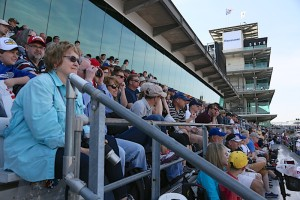 Fans take in the drivers meeting at IMS.