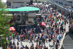 Fans crowd the plaza at IMS.