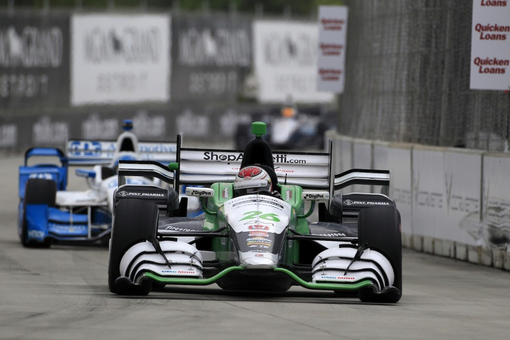 Carlos Munoz scored his first Indy car victory for Honda Saturday at Belle Isle Park in Detroit, Michigan