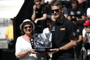 Ryan Hunter Reay accepts a trophy for winning the 2014 Indianapolis 500.