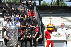 Brian Barnhart gives instructions to the drivers at the public drivers meeting.