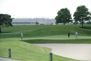 Golfers play the Brickyard Crossing golf course the day before the Indianapolis 500.