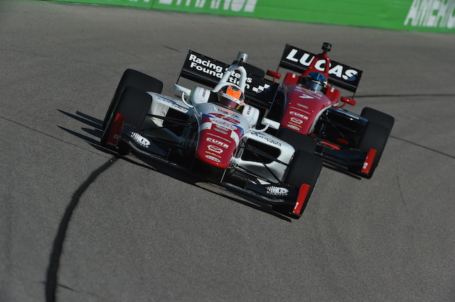 Schmidt Peterson Motorsports with Curb-Agajanian drivers Jack Harvey and RC Enerson led the Thursday Indy Lights test at Iowa Speedway (Photo Courtesy of IndyCar)