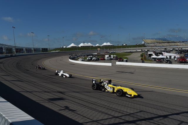 A trio of Pro Mazda machines demonstrate the different lines a driver can utilize to get around the Iowa Speedway bullring.  (Photo courtesy of Indianapolis Motor Speedway, LLC Photography)