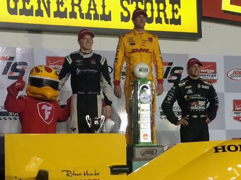 Josef Newgarden and Ryan Hunter-Reay mirrored their finishes from last year's Iowa Corn 300, again finishing second and first, respectively. For the first time since the 2006 Indianapolis 500, Americans swept the top three spots in a Verizon IndyCar Series race.