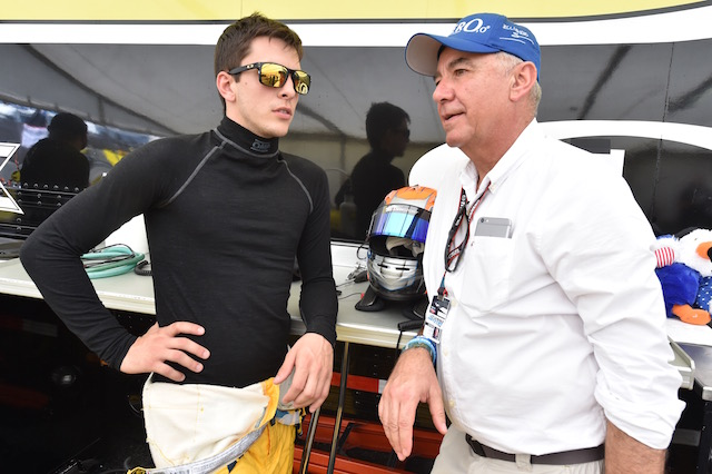 Pro Mazda presented by Cooper Tire championship leader Santiago Urrutia chats with his manger Eliseo Salazar (Photo courtesy of Indianapolis Motor Speedway, LLC Photography)