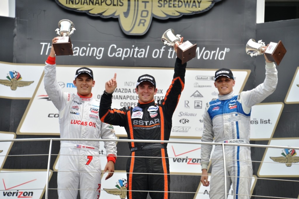 Sean Rayhall celebrates his first Indy Lights presented by Cooper Tire victory at the iconic Indianapolis Motor Speedway (Photo courtesy of Indianapolis Motor Speedway, LLC Photography)
