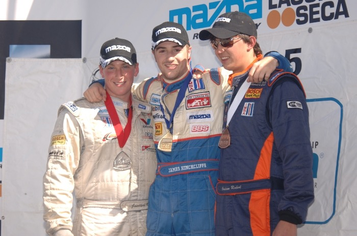 James Hinchcliffe shares the podium with Graham Rahal and Jonathan Klein after winning a 2005 Pro Mazda presented by Cooper Tire race at Mazda Raceway Laguna Seca (Photo Courtesy of Andersen Promotions)
