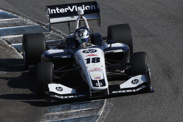 The InterVision sponsored Juncos Racing No. 18 will return to action at the hands of Kyle Kaiser for a second season of Indy Lights presented by Cooper Tire action (Photo courtesy of Indianapolis Motor Speedway, LLC Photography)