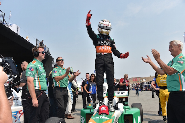 Juncos Racing driver Garett Grist celebrates one his three Pro Mazda presented by Cooper Tire victories (Photo courtesy of Indianapolis Motor Speedway, LLC Photography)
