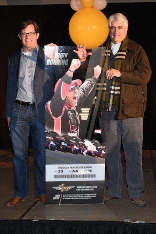 Doug Boles (President, Indianapolis Motor Speedway) and Mark Miles (Chief Executive Officer, Hulman & Company) unveiled the ticket for the 100th Indianapolis 500. (Photo Courtesy of IndyCar - Chris Owens)