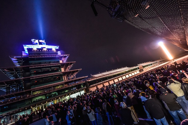"The evening ended with a large crowd gathered at the ""Yard of Bricks"" at midnight to celebrate the arrival of 100 days until the 100th Indianapolis 500 presented by PennGrade Motor Oil ((Photo Courtesy of IndyCar - Chris Owens)"