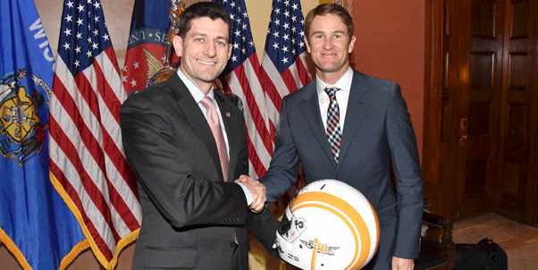 2014 Indianapolis 500 champion Ryan Hunter-Reay and the Borg-Warner Trophy made the rounds on Capitol Hill, including meeting Speaker Of The House, Paul Ryan. (Photo courtesy of Indianapolis Motor Speedway, LLC Photography)