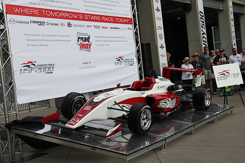 The 2017 USF2000 car is unveiled at IMS. Photo by Blake Johnson