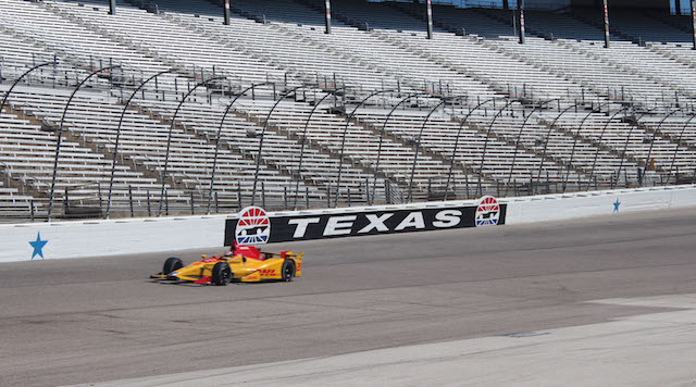 Ryan Hunter-Reay tests his No. 28 DHL Andretti Autosport Honda  at Texas Motor Speedway on May 3, 2016. (Photo Courtesy of Texas Motor Speedway)