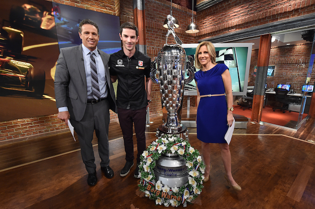 Alexander Rossi and the Borg-Warner trophy visit CNN on his whirlwind tour of New York City (Photo Courtesy of IndyCar)